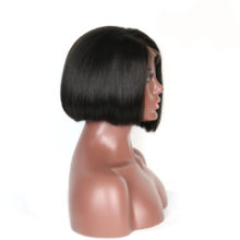 Luxurious Peruvian Remy Hair Side Part Short Straight Lace Wigs Natural color / Jet Black Bob Human Hair Wig Bleached Knots
