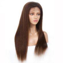 Light Brown #4 Straight Pre Plucked Full Lace Human Hair Wigs For Women Peruvian Remy Hair Full Lace Wig With Baby Hair