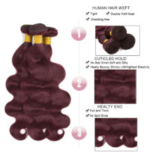 Raw Indian Hair Body Wave Bundles With Closure 99J Human Hair Bundles Can Buy With Closure Non Remy Hair Extension