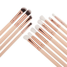 GUJHUI 12Pcs Professional Eyes Makeup Brushes Set Wood Handle Eyeshadow Eyebrow Eyeliner Blending Powder Smudge Brush #257601