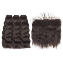 Hair Straight Raw Indian Virgin Hair Bundles With Frontal Hair Weave Bundles Lace Frontal Free Shipping