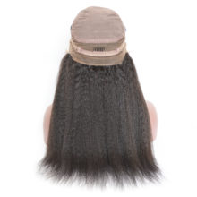 BAISI Hair Kinky Straight 360 Lace Frontal Wigs with Natural Hairline Full Lace Wig Pre-plucked Lace Front Wigs Density 150%