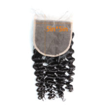 BAISI Peruvian Deep Wave 5*5 Swiss Lace Closure,100% Virgin Hair Free Shipping