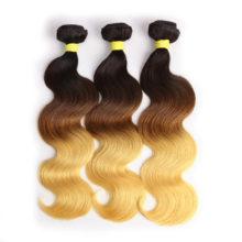 BAISI 3pcs/lot Brazilian Virgin Hair Body Wave Ombre Color 1B#4#27# Machine Double Weft ,Human Hair Weave free shipping