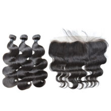 BAISI Lace Frontal with 3pcs Body Wave Brazilian 8A Virgin Hair Nature Color 100% Human Hair Extensions 10-28inch Free Shipping