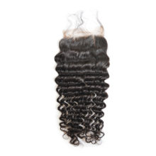 BAISI Brazilian hair Lace Closure, 100% virgin hair deep wave, free part middle part closure with baby hair bleached knots