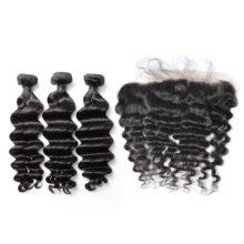 BAISI Hair,100% Human Hair 3Pcs Hair with 13*4 Lace Frontal Brazilian Natural Wave 8A Virgin Hair Free Shipping