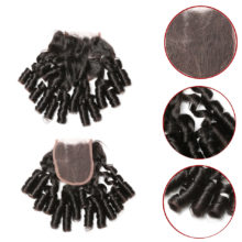 Code Calla Brazilian Raw Virgin Human Hair Extension Bundles With Lace Closure Loose Bouncy Curly Black Weave Bundles For Women
