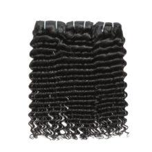 Code Calla Malaysian Raw Virgin Human Hair Extension Deep Wave Bundles With Frontal 13*4 Closure Natural Black Color For Women