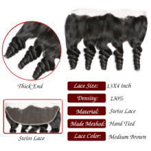 Code Calla Brazilain Loose Wave 13*4 Lace Frontal Closure Free Part Remy Human Hair 130% Density 8