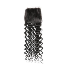 Code Calla Brazilian Deep Wave 4*4 Swiss Lace Closure Human Hair Closure Middle/Free/Three Part Lace Remy Hair Natural 1B Color