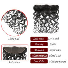 Code Calla Water Wave 13*4 Lace Frontal Closure 130% Density Closure 100 Brazilian Remy Human Hair Natural Black Color For Women