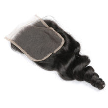 Code Calla Loose Wave 4*4 Lace Closure 130% Density Middle/Free/Three Part 100% Brazilian Human Remy Hair Natural 1B Color