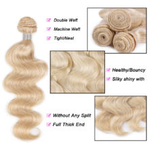 AISI HAIR 613 Blonde Body Wave Human Hair Bundles 1/3/4 Bundle Honey Blonde Bundles Peruvian Non-Remy 100% Human Hair Weave