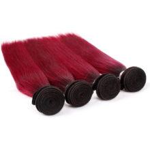 Ombre Red Hair Bundles Peruvian T1B/Burgundy Straight Bundle 100% Human Hair 1 Bundle Non-remy Hair Extensions Dark Roots