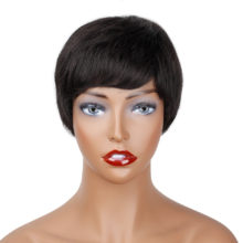 VIOLET Brazilian Short Straight Wigs Non Remy Human Hair Pixie Cut Wig For Black Women 100% Human Hair Wigs Natural Color