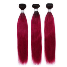 VIOLET Peruvian Straight Hair Bundles T1B/Burgundy Bundle 100% Human Hair Weave Ombre Bundle Non-remy Hair Extensions Dark Roots