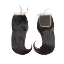 Ali Queen Hair 10Pcs/Lot Brazilian Straight Human Hair Lace Closure 4x4 Free Part / Middle Part Natural Color Remy Hair Closure