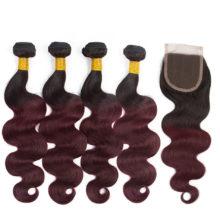 Soph queen Hair Pre-Colored Peruvian 4 Bundles With Closure T1B/99J 100% Human Hair Body Wave Hair Weave Bundles 12-24Inch