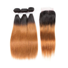 Soph queen Hair Brazilian Straight Blonde Bundles With Closure Remy Pre-Colored T1B/30 Human Hair Free Shipping