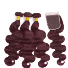 Soph queen Body Wave Bundles With Closure 4pcs/pack Pre-Colored #99j Brazilian Human Hair Bundles With Closure