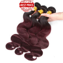 Soph queen Body Wave Bundles With Closure Pre-Colored T1B/99J Brazilian Human Hair Bundles With Closure 4pcs/pack