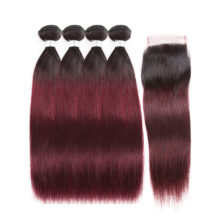 Soph queen Hair Pre -colored Peruvian Straight 4 Bundles With Closure  Hair 100% Human Hairs T1B/99J Color  Remy