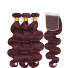 Soph queen Body Wave Indian Bundles With Closure 4pcs/pack Pre-Colored #99J Human Hair Bundles With Closure