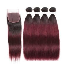 Soph queen Hair Pre-Colored T1B/99J 100% Human Hair Malaysian Straight 100g Hair Extensions 4 Bundles With Closure Remy Hair