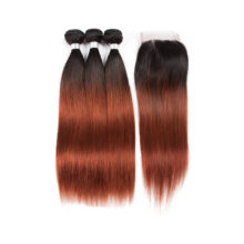 Peruvian Pre-colored #T1B/33 Straight Wave Bundles With Closure Non-Remy Human Hair