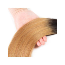 Soph Queen Hair Blonde Bundles With Closure T1B/27 Human Hair Brazilian Straight Remy Hair Bundles With Closure Hair Extensions