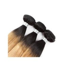 Soph Queen Hair Blonde Bundles With Closure T1B/27 Human Hair Brazilian Straight Remy Hair Bundles With Closure Hair Extensions