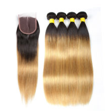 Hair Blonde Bundles With Closure T1B/27 Human Hair Brazilian Straight Remy Hair Bundles With Closure Hair Extensions