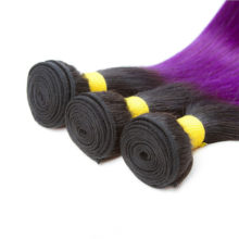 Soph queen Hair Pre-colored T1B/Pur 100% Human Hair Brazilian Hair Straight 4 Bundles With Closure