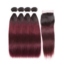 Hair Pre-colored 100% Human Hair Brazilian Hair Straight 4 Bundles With Closure T1B/99J