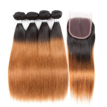 Soph queen Hair Pre-Colored T1B/30 100% Human Hair Malaysian Straight Extensions Blonde 4 Bundles With Closure Remy Hair