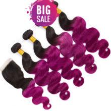 Hair Pre-Colored T1B/Pur Body Wave 100% Human Hair 4 Bundles With Closure  Brazilian Hair