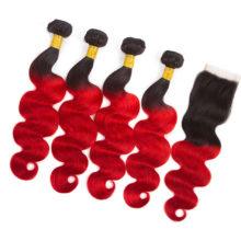 Hair Pre-Colored Peruvian T1B/39J 4 Bundles With Closure 100% Human Hair Body Wave Hair Weave Bundles 12-24Inch