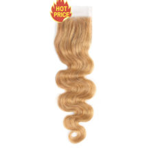 Hair Pre-Colored Malaysian Blonde 4 Bundles With Closure #27 Body Wave 100% Human Hair Extensions Remy Hair