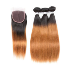 Pre-colored T1B/30 Remy Malaysian Straight Wave Blonde Bundles With Closure 100% Human Hair