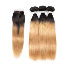 Soph queen Malaysian Straight Wave Blonde Bundles With Closure Pre-colored T1B/27 Remy Human Hair Free Shipping