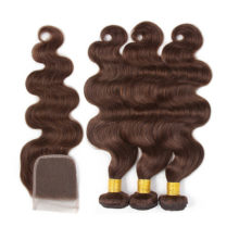 Soph queen Body Wave Indian Bundles With Closure 4pcs/pack Pre-Colored #4 Human Hair Bundles With Closure