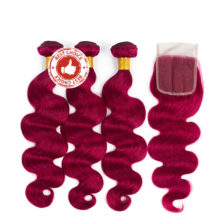 Body Wave Bundles With Closure 4pcs/pack Pre-Colored #BUG Peruvian Human Hair Bundles With Closure