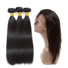 Soph queen Malaysia Straight Wave 3 Bundles With 360 Lace Frontal Natural Black Human Hair Bundles With Lace Frontal 360