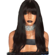 Shumeida 150% Lace Front Human Hair Wig With Bangs Bleached Knots Natural Wave Peruvian Lace Front Wig For Black Women Remy Hair