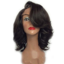 Peruvian Lace Front Short Human Hair Wigs For Black Women Front Lace Wig Bleached knots Remy Hair Body Wave Wig SHUMEIDA