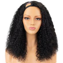 100% Human Hair Curly U Part Wigs For Black Women Right Part 150% Density Brazilian Remy Hair Curly Wigs Full End Aliblisswig
