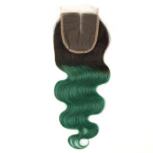 Alimice Ombre Bundles With Closure 1B/Green Colored Human Hair 3 Bundles With Closure Brazilian Body Wave Bundles With Closure