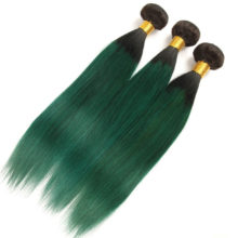 Alimice Ombre Bundles With Closure 3Bundles With Closure 4Pcs T1B/Green Colored Dark Roots Brazilian Straight Human Hair Bundles