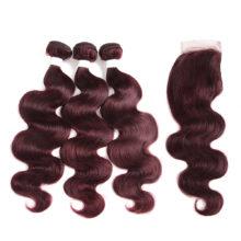 99J/Burgundy Red Color Brazilian Body Wave Human Hair Bundles With Closure 4*4 KEMY HAIR 100% Remy Human Hair Weaves 3PCS